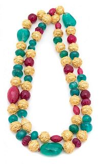 A Green, Pink and Gold Beaded Necklace Length 43 inches.