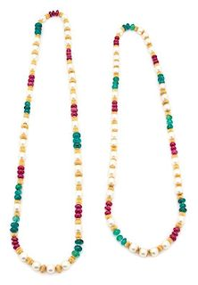 A Pair of Faux Pearl, Pink and Gold Beaded Necklaces Length of longest 37 inches.
