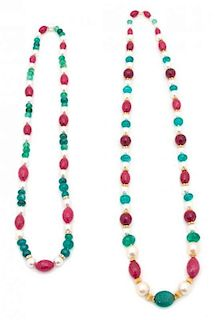 A Pair of Faux Pearl, Faceted Pink, Green and Gold Beaded Necklaces Length of longest 37 inches.