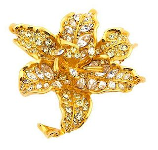 A Kenneth Lane Goldtone and Rhinestone Floral Form Brooch, Diameter 2 3/4 inches.