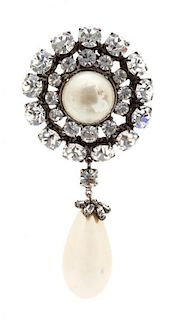 A Faux Mabe Pearl and Rhinestone Brooch with Drop Pearl Pendant Height 3 1/2 inches.