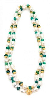 A Baroque Pearl, Green and Gold Beaded Necklace Length 52 inches.