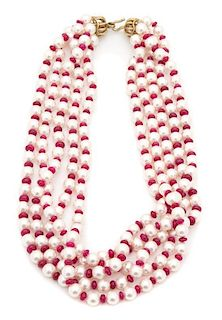 A Five Strand Faux Pearl and Pink Beaded Necklace Length 19 inches.