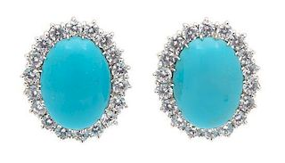 A Pair of Silvertone Faux Turquoise and Cubic Zirconia Earrings Height 1 inch.