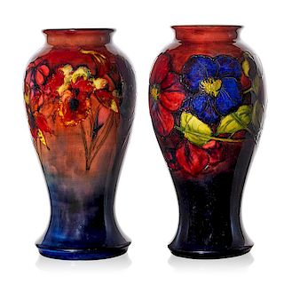 MOORCROFT Two vases with orchids and clematis