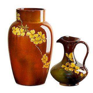 ROOKWOOD Early Standard Glaze vase and pitcher
