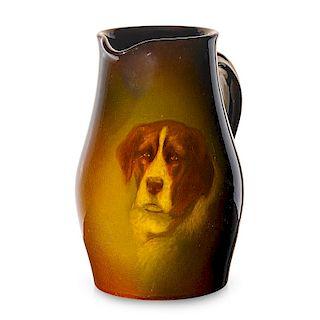 ROOKWOOD Pitcher with Saint Bernard dog