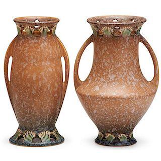 "ROSEVILLE Two tan 9"" Ferella vases"
