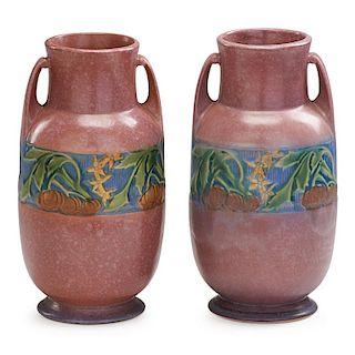 """ROSEVILLE Two 9"""" pink Baneda vases"""