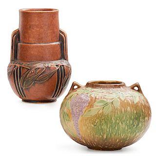 ROSEVILLE Brown Wisteria and russet Laurel vases
