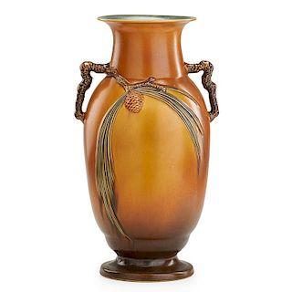 ROSEVILLE Brown Pine Cone floor vase