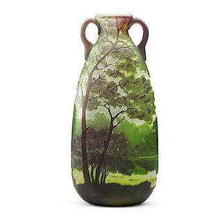 LEGRAS Two-handled cameo glass vase