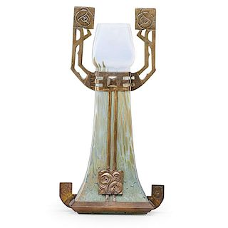 BOHEMIAN Secessionist glass vase w/ metal overlay