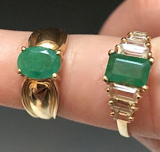 TWO 14K YELLOW GOLD AND EMERALD RINGS