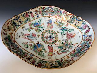 A CHINESE LARGE ANTIQUE EXPORT WU SHUANG PU PORCELAIN PLATE,19C