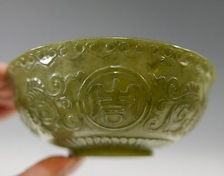 CHINESE ANTIQUE JADE BOWL - 19TH CENTURY