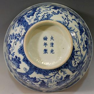 LARGE CHINESE ANTIQUE BLUE WHITE PORCELAIN BOWL - GUANGXU MARK AND PERIOD