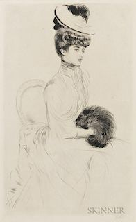 Paul César Helleu (French, 1859-1927)  Madame Anlis avec manchon assise