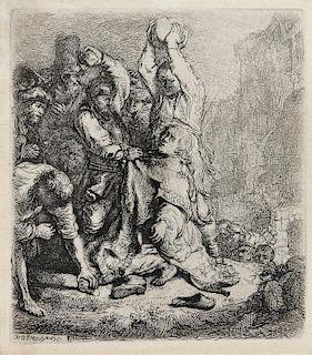 Rembrandt van Rijn (Dutch, 1606-1669)  The Stoning of St. Stephen