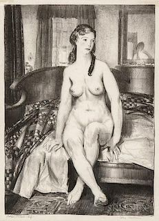George Bellows (American, 1882-1925)  Morning, Nude on Bed, Second Stone