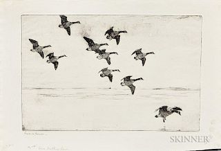 Frank Weston Benson (American, 1862-1951)  Three Impressions of Geese Drifting Down