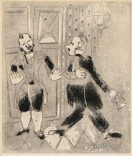 Marc Chagall (Russian/French, 1887-1985)  Le suisse ne laisse pas entrer Tchitchikov