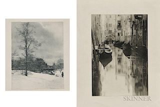 Alfred Stieglitz (American, 1864-1946)  Four Photogravures:  A Winter Sky, Central Park