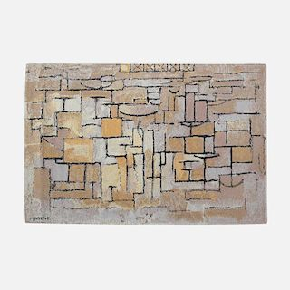 After Piet Mondrian, Composition in Grey and Yellow carpet