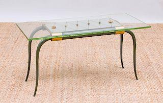 ART DECO GLASS AND MIRROR-TOP VERDIGRIS BRONZE LOW TABLE