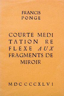 FRANCIS PONGE (1899-1988): COURTE MEDITATION REFLEXE AUX FRAGMENTS DE MIROIR