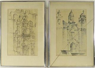 PR Gino Conti Abstract Church Pencil Drawings
