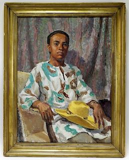 Sven Carlson Nigerian Man O/B Portrait Painting