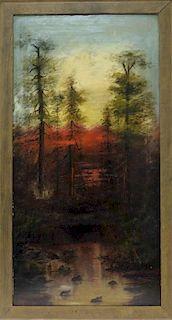 C.1890 California Illuminated Landscape Painting