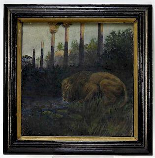 George Hammond American WC Lion Painting