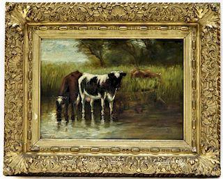 Geniveve Estey MA Cows Landscape O/C Painting