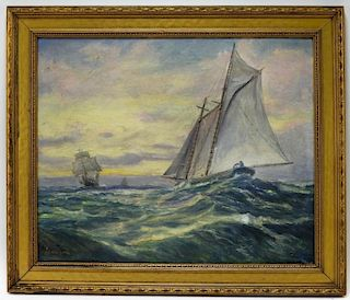 Alfred Addy O/B Gloucester MA Seascape Painting