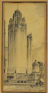 Don Benson 1928 City Skyscraper Pencil Drawing