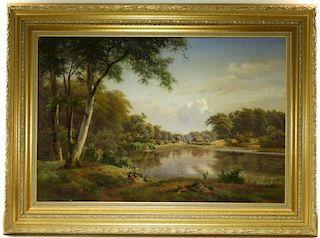 LG Continental Romanticist Landscape Oil Painting
