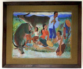 Chumpol Chumtap Genre Scene Water Buffalo Painting