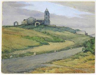 Herbert Cross WC Church Landscape Painting