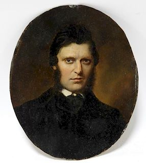 19C. American Male Portrait Painting on Tin