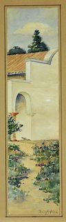 Emily H White Diminutive WC Landscape Painting