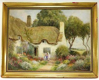 Arthur Claude Strachan Floral Cottage WC Painting