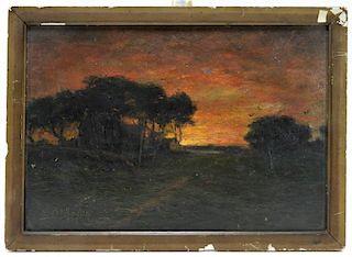1914 Washington O/B Sunrise Landscape Painting