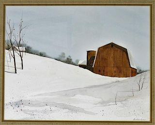 Al Barker Winter Landscape Snow Scene Painting