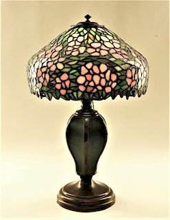 FINE Handel Dogwood Stained Glass Table Lamp