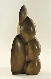European MCM Modernist Abstract Bronze Sculpture
