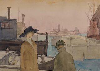STUART DAVIS, (American, 1892-1964), The River, watercolor