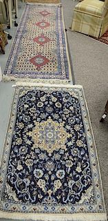 """Two Oriental rugs, including a runner 3' x 9'6"""" and a scatter rug 2'10"""" x 4'8"""""""