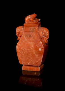 A Carved Coral Snuff Bottle, Height overall 2 9/16 inches.